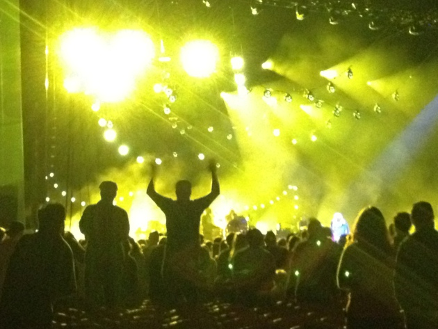 The crowd and stage lit up many times during MMJ's long set.