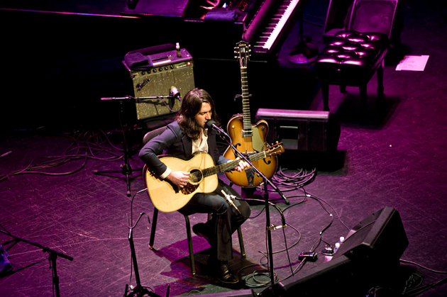 Conor Oberst started out solo at Thursday's Fitzgerald Theater concert. / Photo by Leslie Plesser
