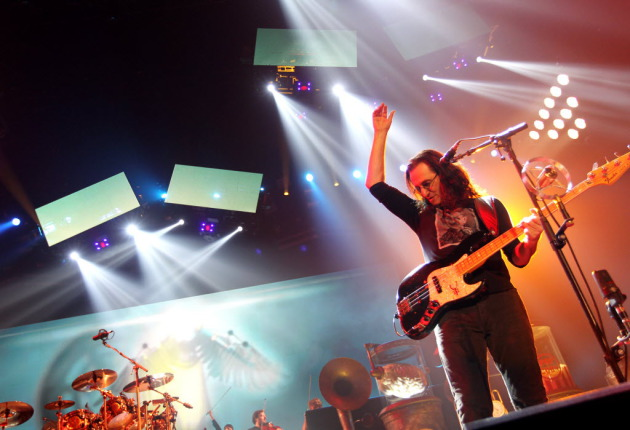 Geddy Lee led Rush through another long one Monday at Target Center. / Photo by Courtney Perry