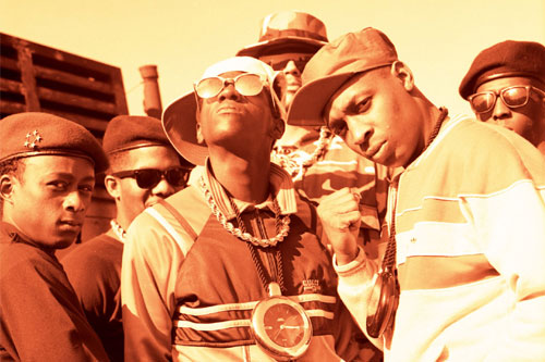 Public Enemy, led by Flavor Flav (front left) and Chuck D (front right), made the ballot for the Rock and Roll Hall of Fame.