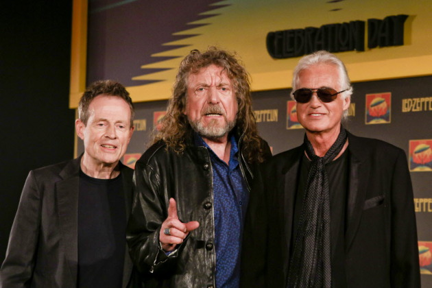"Robert Plant, center, has gotten testy with reunion-inquiring reporters at press conferences promoting ""Celebration Day"" with bandmates John Paul Jones, left, and Jimmy Page. Photo by Miles Willis/Invision/AP"