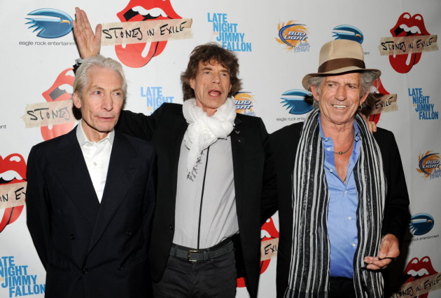 "Charlie Watts, Mick Jagger and Keith Richards in 2010 at a screening of ""Stones in Exile."" / Evan Agostini, Associated Press"