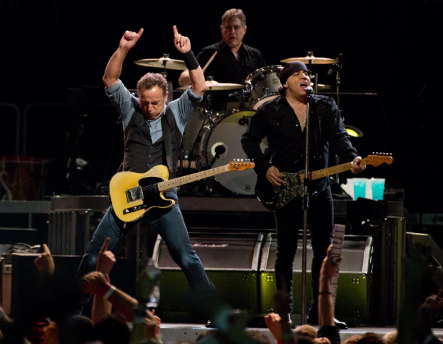 Bruce played it loose again Monday at Xcel Energy Center with Max Weinberg and Little Steven Van Zandt. / Renee Jones Schneider, Star Tribune