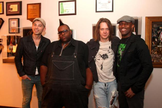 A photo of the new Soul Asylum lineup from the band's Facebook page with new guitarist Justin Sharbono, left, who happens to be a relative of the guy he's replacing.