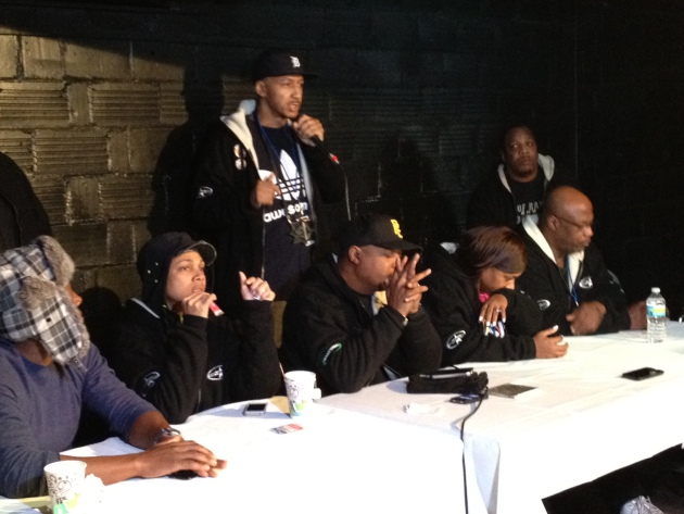 Awesome Dre, back, talks at the Hip-Hop Gods press conference in front of Chuck D.