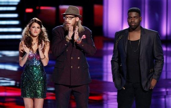Nicholas David, center, joined Cassadee Pope in the finals and said goodbye to his friend Trevin Hunte.
