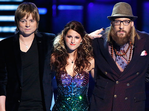 """The Voice's"" final three: Terry McDermott, Cassadee Pope and Nicholas David Mrozinski."