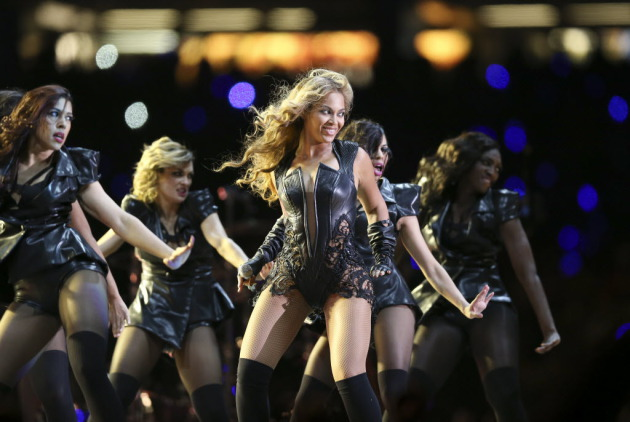 Beyonc&eacute; used Sunday's Super Bowl half-time appearance as promotion for her world tour announced Monday morning. / Jed Jacobsohn, New York Times