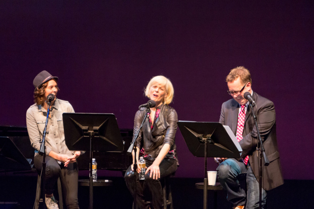 "A scene from ""Wits"" last year with (from left) Branci Carlile, Maria Bamford and John Moe. / Photo courtesy MPR"