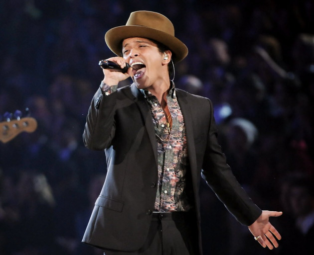 Bruno Mars' many TV stints of late included the Grammys and this one at the Victoria's Secret Fashion Show. / Evan Agostini, Invision-AP