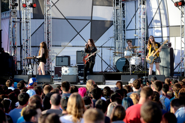 Los Angeles trio Haim, made up of three sisters, played to the mtvU cameras Thursday in Austin, Texas. / Photos by Tony Nelson