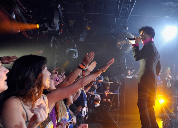 Prince went guitarless throughout his closing-night performance at the South by Southwest Music Conference in Austin, Texas. / Photos by John Sciulli for Samsung