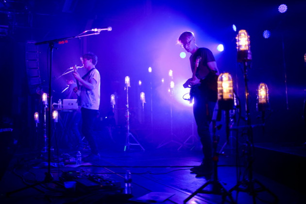 Alt-J employed ample utility lights but a scant repertoire Monday at the Varsity. / Jeff Wheeler, Star Tribune
