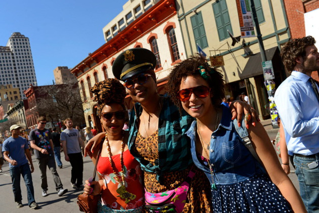 The Chalice's Sophia Eris, Lizzo and DJ pacebar walked the runway known as Sixth Street during March's South by Southwest Music Conference in Austin, Texas. / Photo by Tony Nelson
