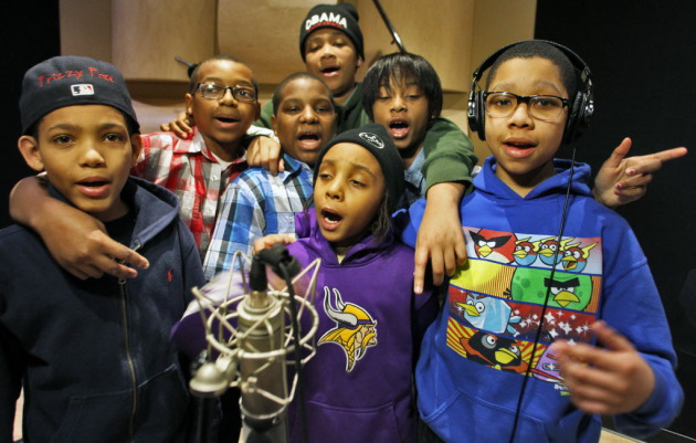 The KIDS, formerly the Y.N.RichKids, went to work on new songs outside the YMCA's Beats & Rhymes program at the Institute of Production & Recording in February. / Marlin Levison, Star Tribune