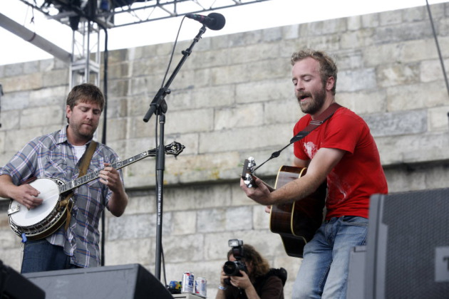 Dave Carroll, left, and Dave Simonett of Trampled by Turtles at the Newport Folk Festival last summer. / Joe Giblin, Associated Press