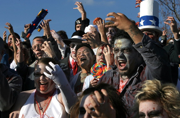 "What the Zombie Pub Crawl crowd might look like if Flock of Seagulls doesn't play ""I Ran"" this year. / Star Tribune file"