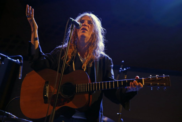 Patti Smith raised her hand for railroad preservation at Thursday's Station to Station arts event in downtown St. Paul. / Star Tribune, Richard Tsong-Taatarii