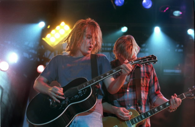 Dave Pirner and Dan Murphy at Midway Stadium in 1995 right before the hall of fame concert with Lou Reed. / Jeff Wheeler, Star Tribune