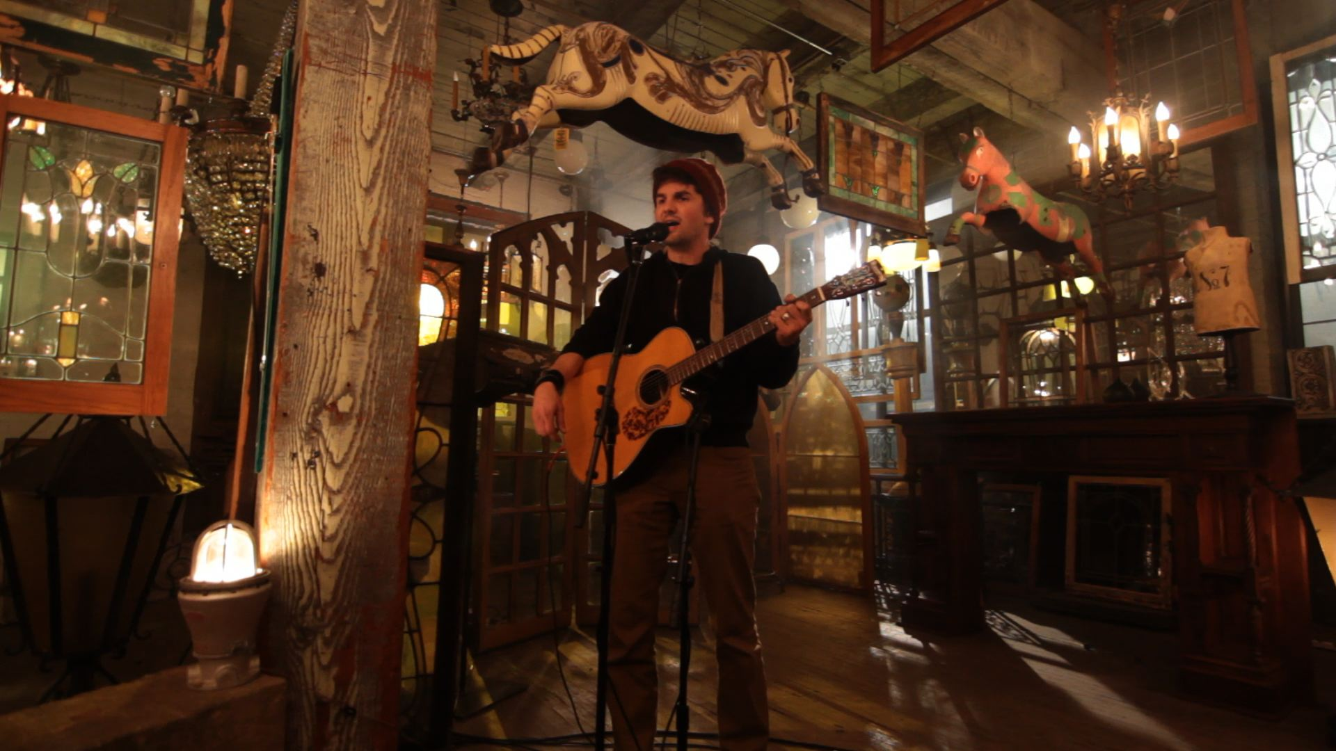 "Cloud Cult frontman Craig Minowa during last year's ""MN Original"" taping at Architectural Antiques. / Photo courtesy Twin Cities Public Television"