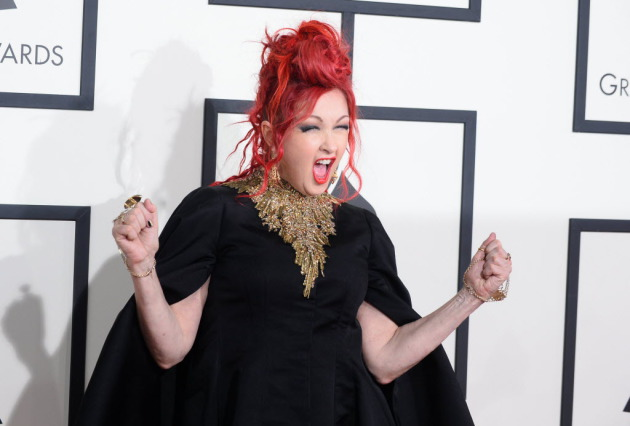 "Cyndi Lauper won another Grammy on Sunday for best theater album (""Kinky Boots"") and was also on hand to introduce Carole King's performance. / Jordan Strauss, Invision/AP"