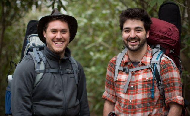 Joe Mailander and Justin Lansing, a k a the Okee Dokee Brothers, on the Appalachian Trail last May.