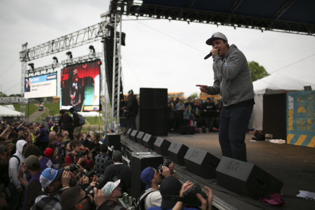 After a thunderstorm spoiled their 2012 set, Slug and Atmosphere returned to the top slot during 2013's Soundset outside Canterbury Park in <a href=