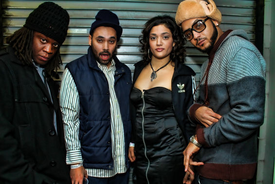 Dodi Phy, left, backstage at Epic nightclub in 2012 opening for the Wu-Tang Clan with Spit Ric, Maria Isa and Muja Messiah. / BFresh Photography, Rebecca McDonald