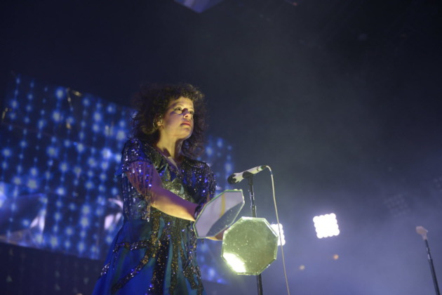 "Arcade Fire co-leader Regine Chassagne armed herself with some nifty mirror paddles during ""Reflektor"" early in Saturday's Target Center concert. / Photo by Amanda Snyder, Star Tribune"