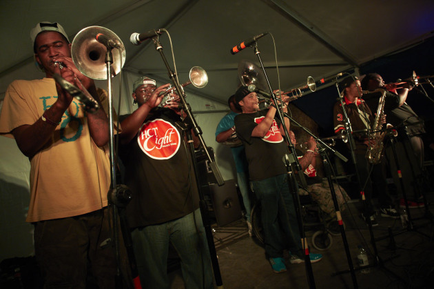 New Orleans' Hot 8 Brass Band closed out the party Saturday night along Rainey Street in Austin, Texas. / Photos by Tony Nelson