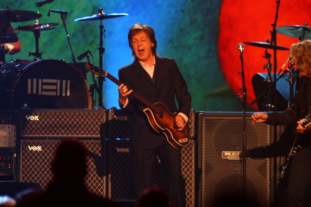 Paul McCartney performs at The Night that Changed America: A Grammy salute to the Beatles, on Monday, Jan. 27, 2014, in Los Angeles. (Photo by Zach Cordner/Invision/AP)