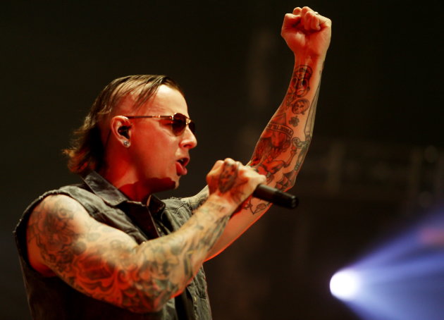 M. Shadows and his tattoos were out front and center during Monday night's Avenged Sevenfold concert at Target Center.. / Joel Koyama, Star Tribune