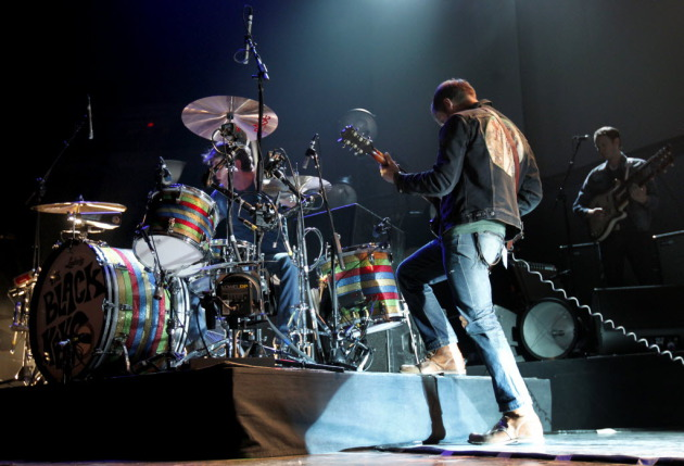 Black Keys drummer Patrick Carney and singer/guitarist Dan Auerbach didn't let the Target Center's big space get between their tight chemistry in 2012. / Carlos Gonzalez, Star Tribune