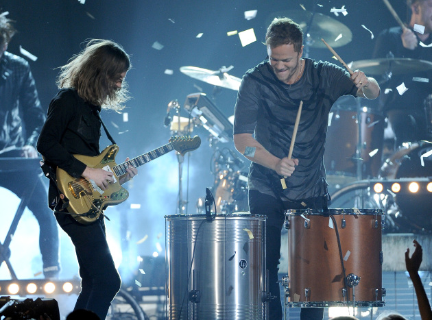 Wayne Sermon, left, and Dan Reynolds of Imagine Dragons performed at the Billboard Music Awards on Sunday in their native Las Vegas. (Photo by Chris Pizzello/Invision/AP)