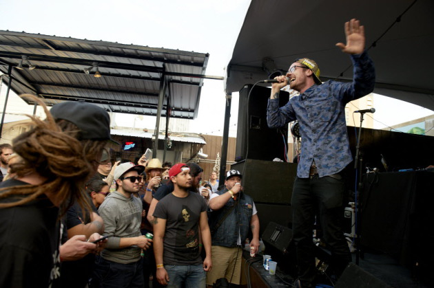Minneapolis rapper Sean Anonymous, set to headline one night of this year's Stone Arch Bridge Festival, had good practice performing outside at the South by Southwest Music Conference in March. / Photo by Tony Nelsonperfo