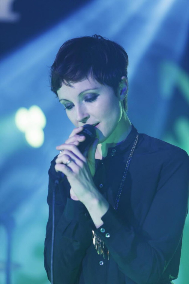 Poliça singer Channy Leaneagh on Jimmy Kimmel's TV show in December. / Randy Homles, ABC-TV