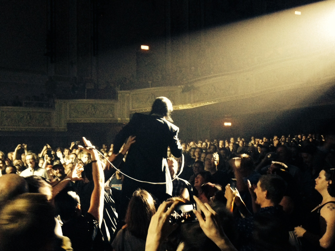 """Nick Cave got to know Saturday's State Theatre crowd during the third song """"Tupelo"""" and again in the pre-encore finale """"Push the Sky Away."""""""
