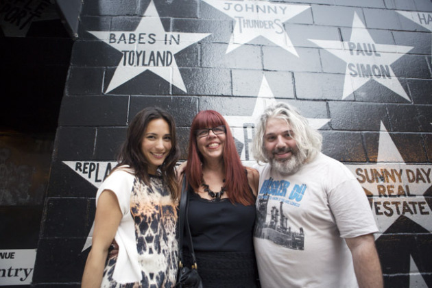 Lori Barber of Babes in Toyland fame (center) with the Noisey video crew outside a Twin Cities music club some of you might recognice. / Photo courtesy Noisey