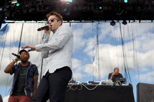 P.O.S., left, Sims and Lazerbeak during Doomtree's set last year at the Summer Set Music & Camping Fest. / Anna Reed, Star Tribune