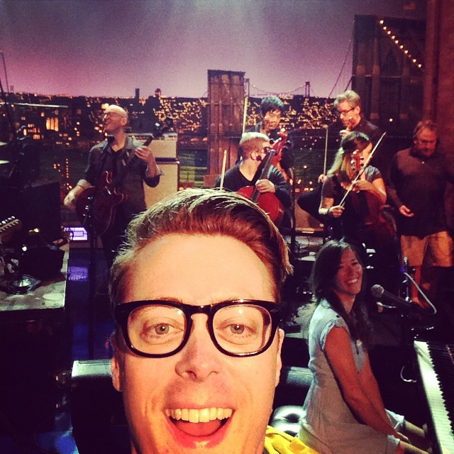 Jeremy Messersmith's selfie on Instagram from the Letterman set.