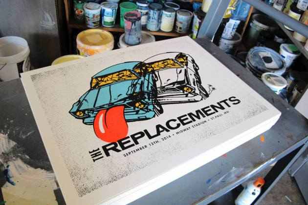 One of the 20 posters hot off the presses for Sunday's Replacements poster show, this one crafted by Aesthetic Apparatus. / Photo by Monica Edwards Larson