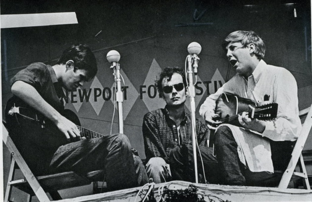 Dave Ray, right, with Spider John Koerner and Tony Glover at the Newport Folk Festival in 1965. Yep, that Newport Folk Festival.