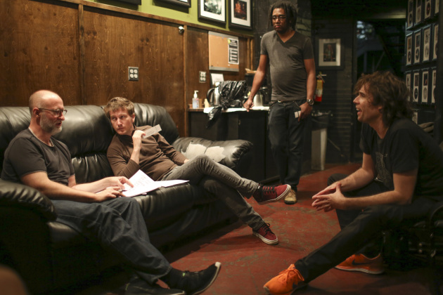 Mould hashed out Sunday's two-part set list with bassist Jason Narducy (on couch) and drummer Jon Wurster (seated, right), both of whom have their say in the selections. / Jeff Wheeler, Star Tribune