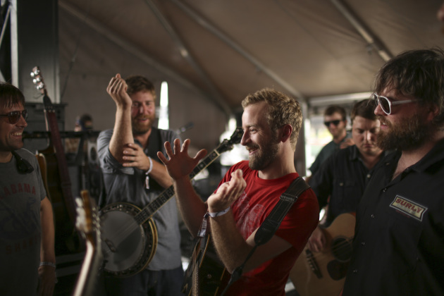 Members of Trampled by Turtles before they took the stage at the Forecastle Festival in Louisville, Ky., in July. / Jeff Wheeler, Star Tribune