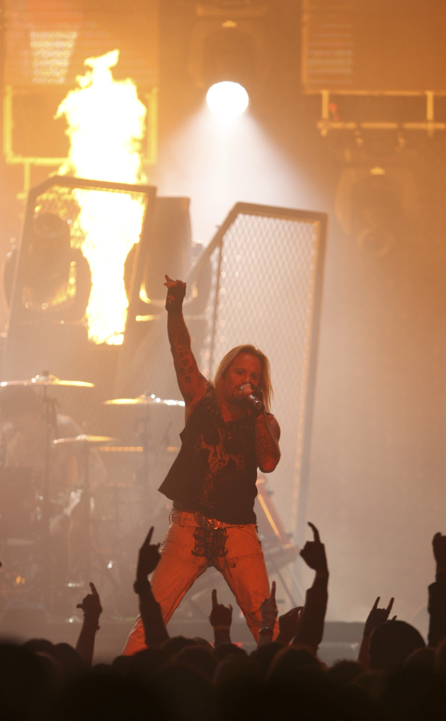 Vince Neil lit up for a change when the Crue played Xcel Center in November. / Aaron Lavinsky, Star Tribune