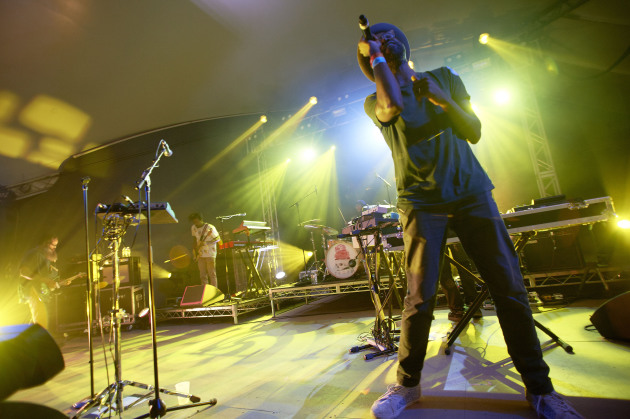 Tunde Adebimpe led TV on the Radio through a riveting set as headliners of NPR Music's SXSW showcase Wednesday at Stubb's in Austin, Texas. / Photos by Tony Nelson