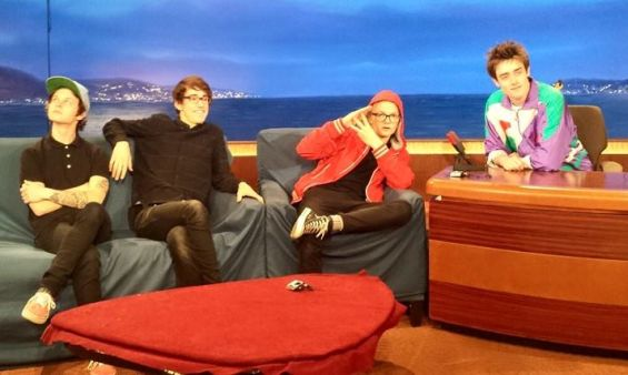 """Hippo Campus tweeted this photo goofing around on the set of """"Conan"""" on Tuesday. / Photo by Geoff Harrison, Thirty Tigers"""