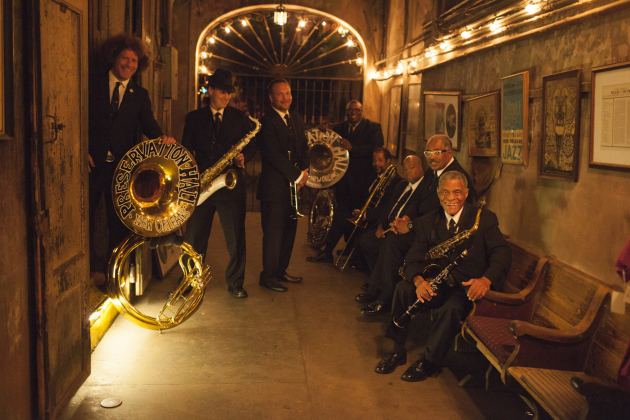 Ben Jaffe, left, and the rest of today's Preservation Hall Jazz Band lineup at their namesake venue in the French Quarter. / Photo by Danny Clinch