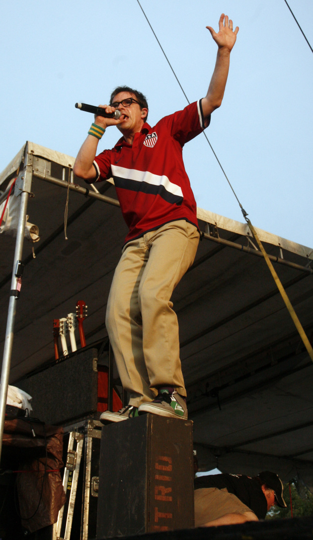 Weezer's Rivers Cuomo at Bonnaroo in 2010. / AP Photo, Jeff Christensen