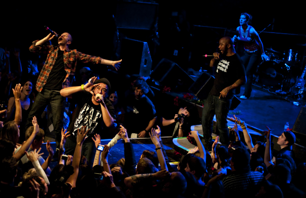 Doomtree's members reunited onstage every year for their Blowout concerts at First Avenue, including (from left) Sims, Mike Mictlan, P.O.S. and Dessa. / Leslie Plesser, Star Tribune
